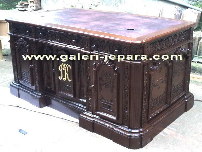 Victorian Style with Leather - Solid Wood Furniture - Office Partner Desk in Office Furniture