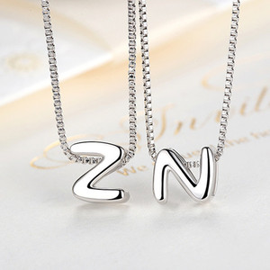 Custom silver chain 925 slide letter charms s alphabet pendant design necklace for women