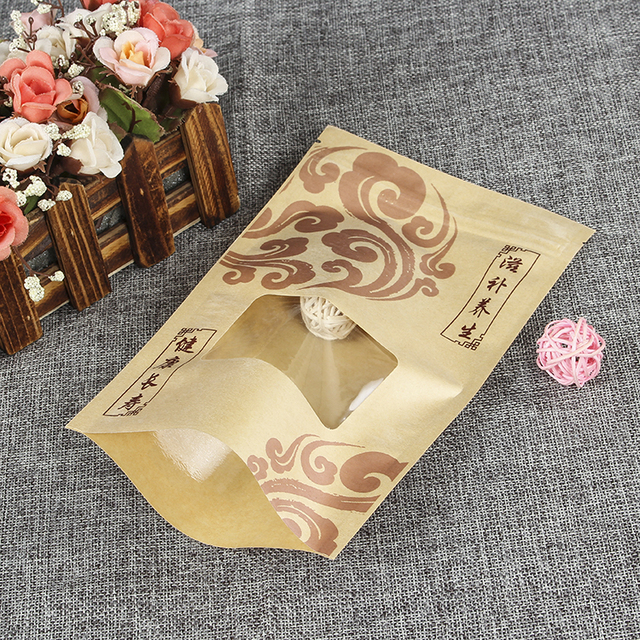 Customized Brown Kraft Paper Food Bag With Clear PE Window
