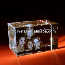 Hot sale 3d laser engraved crystal cube for table decoration