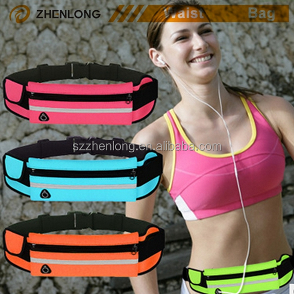 promotion outdoor sport gift reflective zipper running belt waist pack