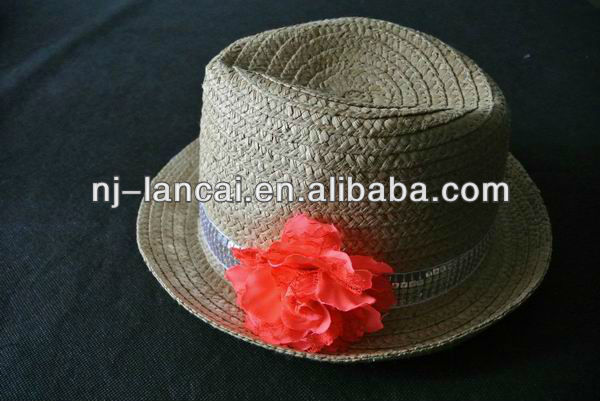 Girls paper straw trilby hat with corsage and sequin band