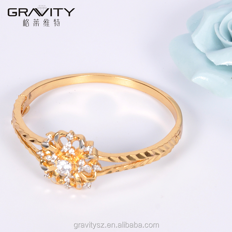 SZCG0006 Gravity jewelry hot sales custom fashion gemstone gold plating bangle jewellery design for girls