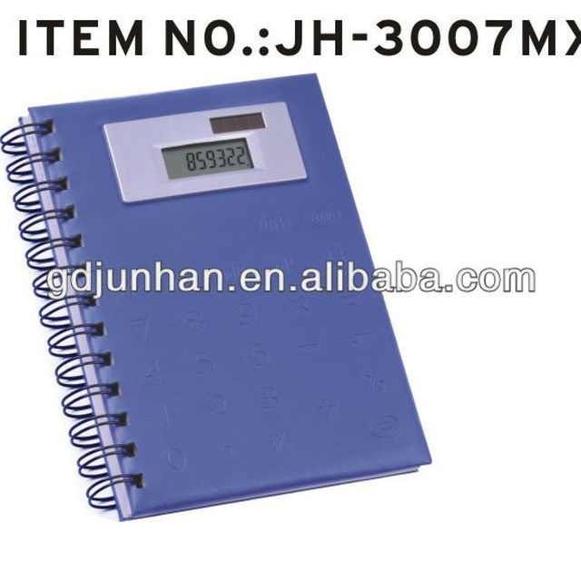 JH-3007MX foldable leather ring binder notebook cover with calculator