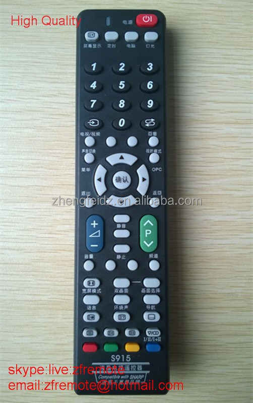 High Quality 58 Keys Black S915 Universal TV Remote Compatible with Sharpe LCD LED HDTV single brand remote control in 2*AAA ZF