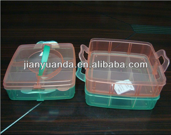 Plastic pretty compartment storage box with handle easily used container