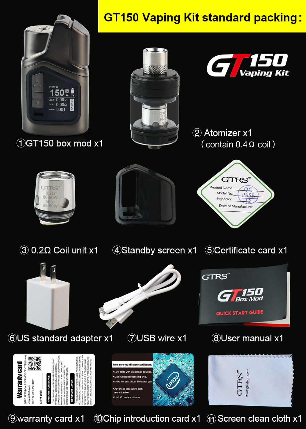 2017 new products GTRS full vaping kit GT150 vape mods by GaoMeiTe