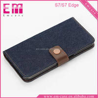 Jeans Pocket Wood Grain Grid Luxury Flip PU Leather Fold Wallet Pouch Case with Card Slots & Stand for Samsung Galaxy S7