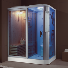 Rectangle steam shower room and sauna room combination
