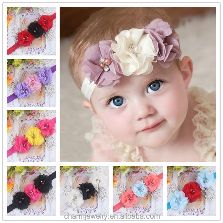 Wholesale Chiffon Elastic Three Flower Baby Hair Headband
