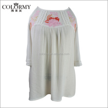 Lady cold shoulder half sleeves crep rayon embroidery blouse with lace