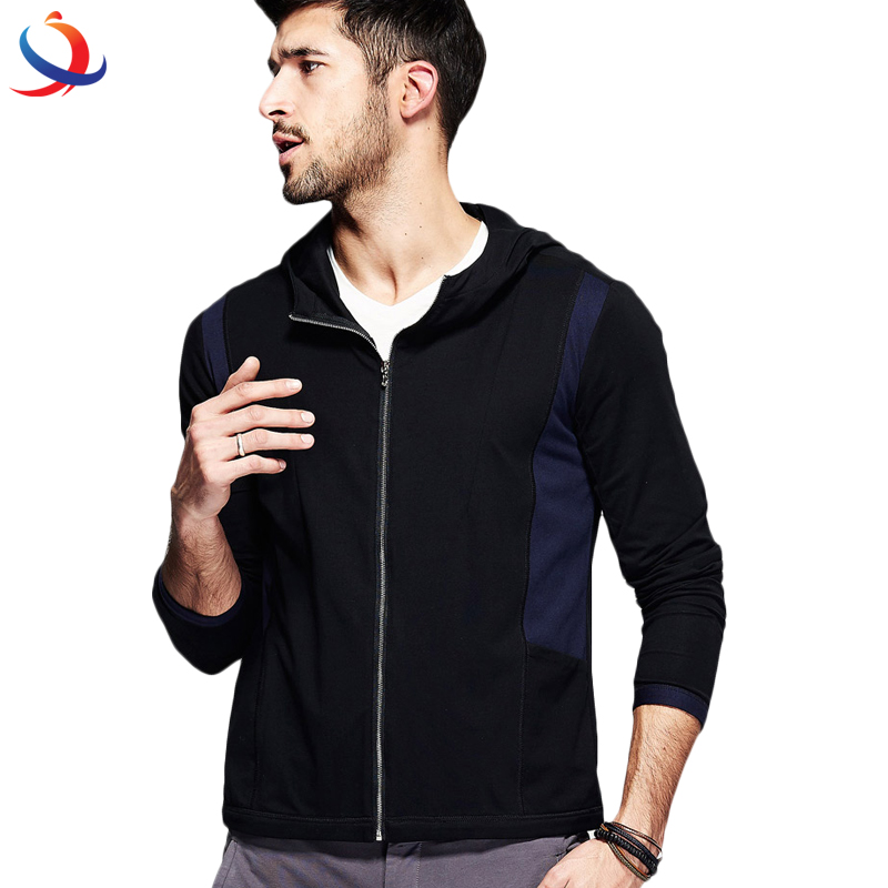 Thin Patchwork Black Blue Color Man'S Zipper Cardigan Clothes Male Tops