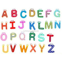 Home Decor Children 26 Pcs Colorful Cute Wooden Alphabet Letters Handmade Learning Game Creative DIY Educational Fridge magnet