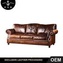 Latest new design vintage genuine leather sofa set A119