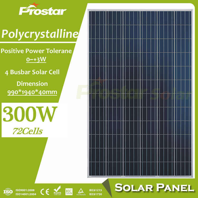 Prostar poly 300 watt solar panel for solar power tv and radio