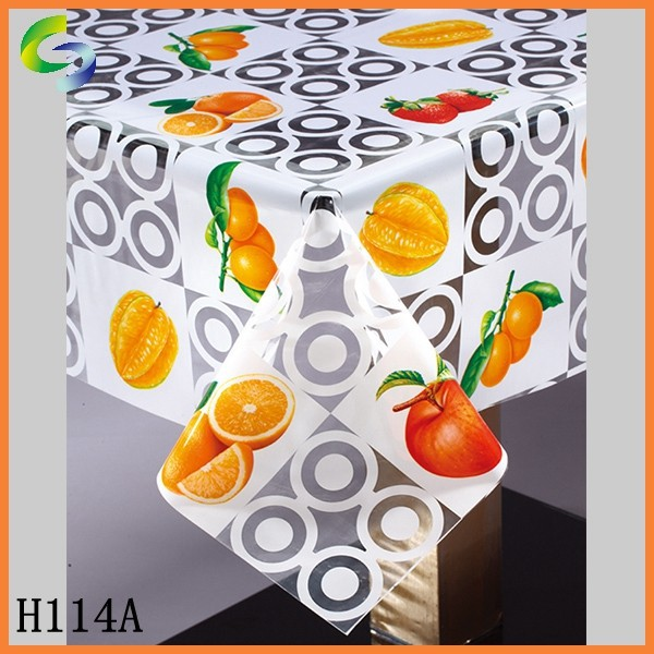 Shuangjie transparent pvc tablecloth in roll