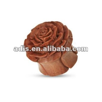 Hand carved organic wood double flared rose plug