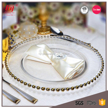 "Wholesale cheap bulk dinner plates lead free 13"" gold glass beaded charger plate for wedding"