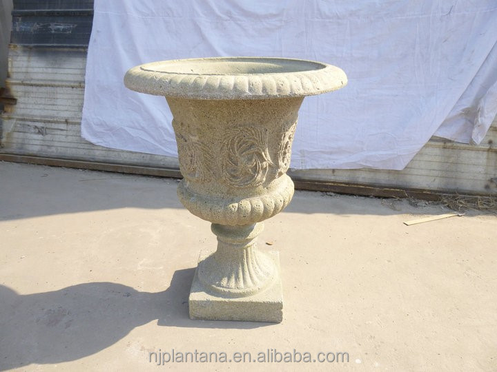 fiber stone finish garden vases classic garden urns with detail carving
