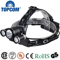 6000 Lumen 4 Modes XML T6 And R2 3 LED Brightest Lumen Rechargeable Headlamp + Bag + Bike Clip + Band + Normal Box Packing
