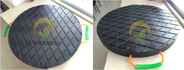 Black color UHMWPE outrigger pads crane leg support pad
