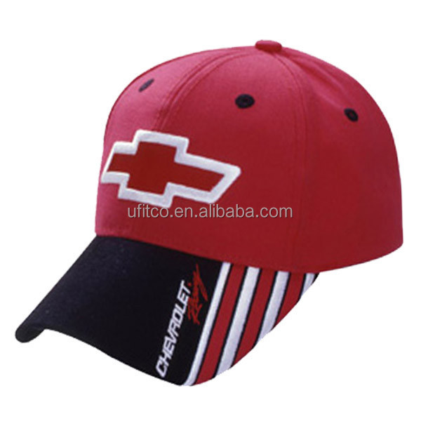 2015 high quality China facotry red black cotton twill custom designed 6 panel racing cap and hat