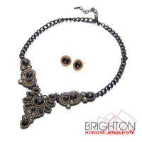 Black Beads Chain Bib Necklace And Earrings Women Jewelry Set N6-8234-7100