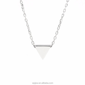 Wholesale 925 Sterling Silver Rhodium Plated Inverted Triangle Pyramid Polished Fashion Pendant Necklace jewellery