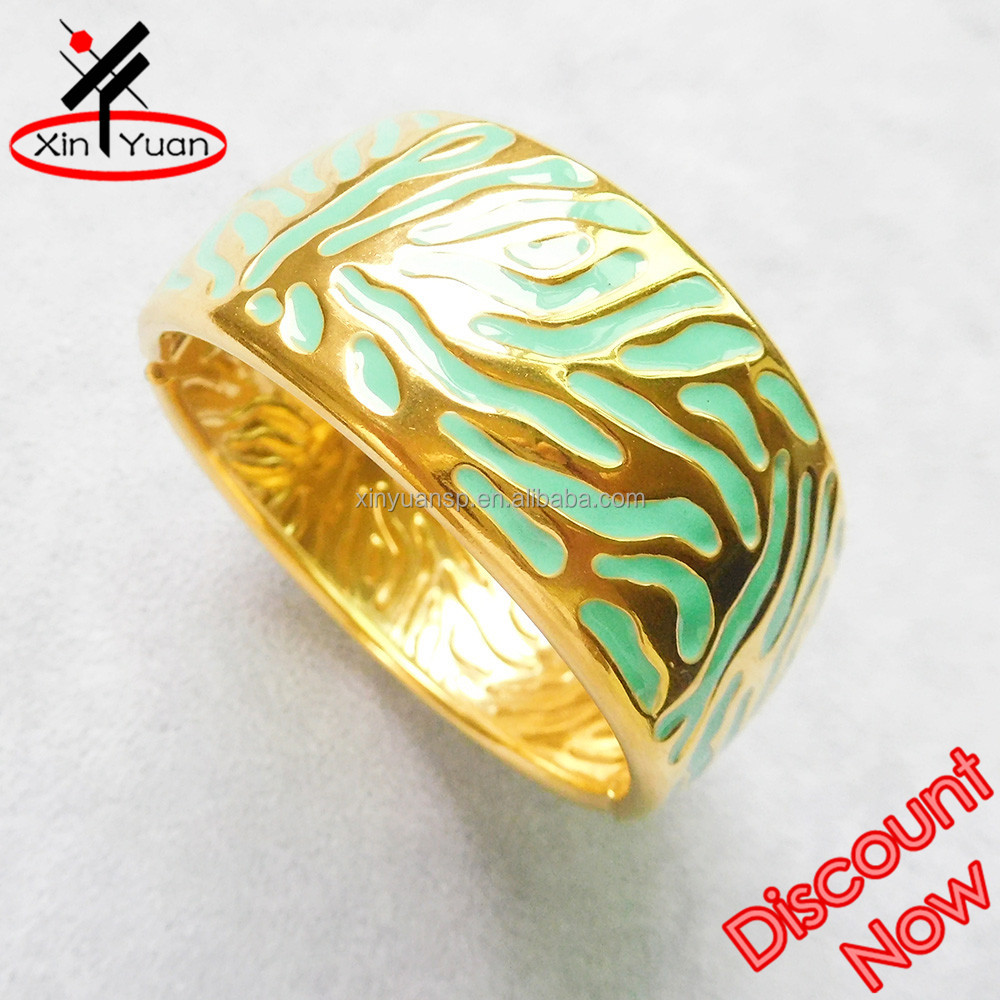 beautiful enamel thick gold bangle made from stainless steel