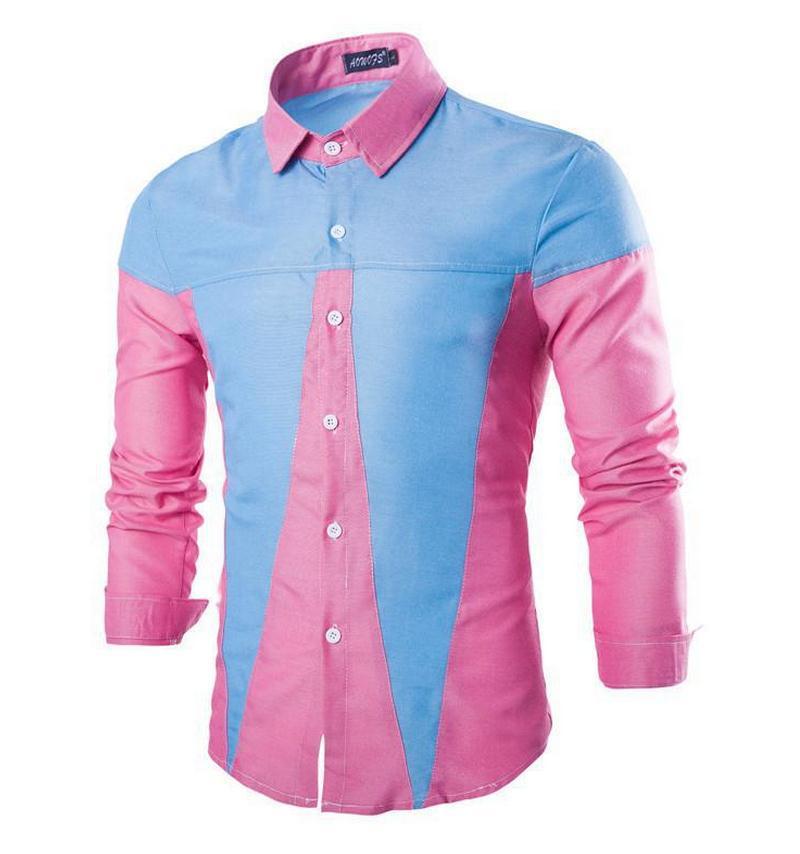bf98b26efeb Get Quotations · Brand Mens Oxford Shirt Camisa Masculina Men s Long Sleeve  Hit Color Patchwork Dress Shirts Cotton Turndown