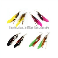 best seller earrings fashion mixed color feather earrings