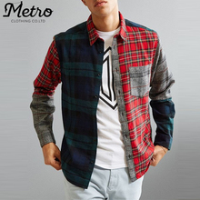 Fashion Men's Patch Work Checked Plaid Flannel Shirts