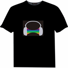 New Design High Quality Cheap Promotional T Shirts El Flashing Sound Activated Custom Make Led T Shirt For Party