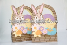 lovely rabbit and chicken ink printed cheap paper bags with die-cut handles