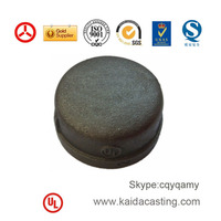 ISO,SGS black cast iron pipe end cap 300