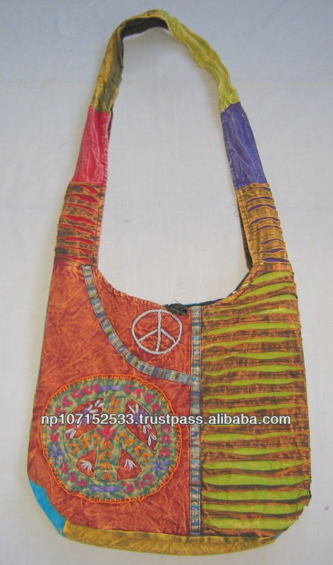 SHB132 cotton bag with big peace and razor cut price 250rs $2.94