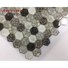 Hexagon glass Mosaic tile , hexagon tile for kitchen and bathroom