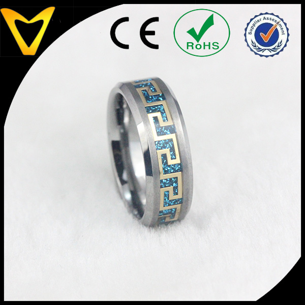 Blue Shading Gold Greek Key Pattern Titanium Wedding Ring for Men,Mysterious Greek Key Titanium Rings 8MM Design