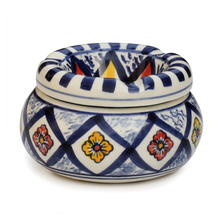 Outdoor Indoor Moroccan Round Ashtray Handmade Ceramic Ashtray with Lid Cover and 3 Cigarette Holder Slots