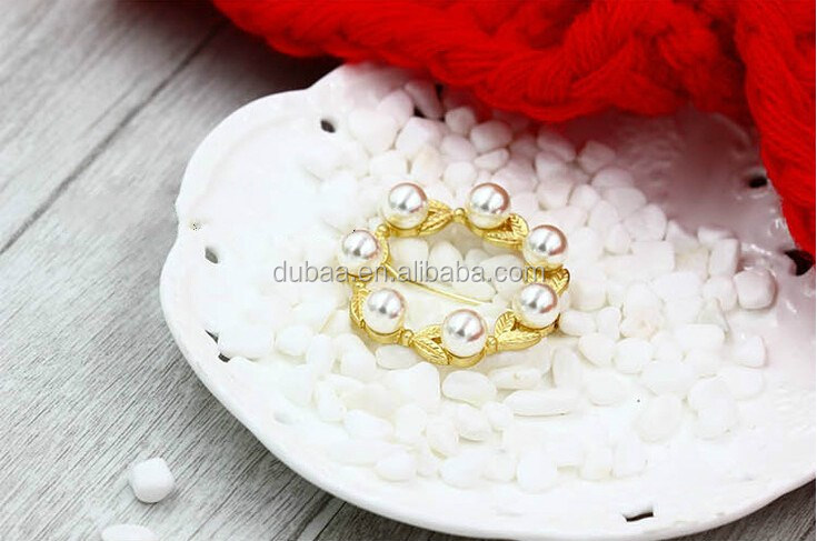 2017 Vintage Alloy Flower Pearl Wedding Bridal Bouquet Brooch Pin