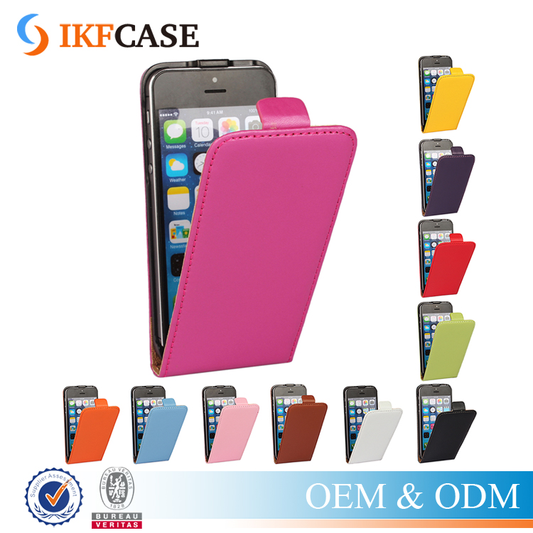 High Quality Magnetic PU Leather Phone Accessories Case for iPhone 5 5S SE with Up and Down Vertical Flip