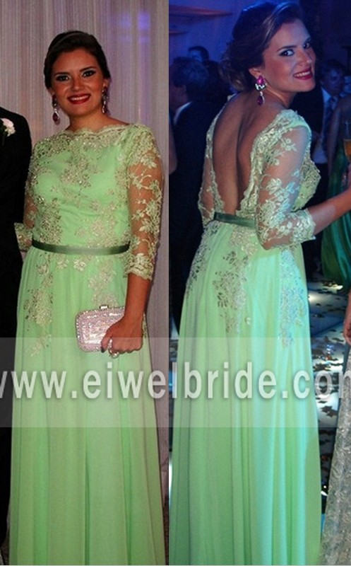 Mint green tulle 3/4 sleeve appliqued beaded big ass in evening dress photos