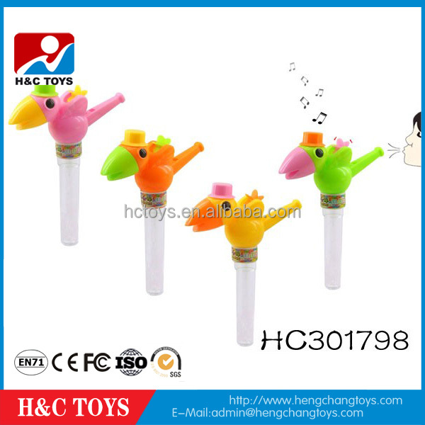 Promotional gift 2016 new kids plastic bird whistle toy candy for sale HC301798