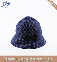OEM Fashion custom cotton children's bucket hat for gift with white dot printing and a navy bowknot