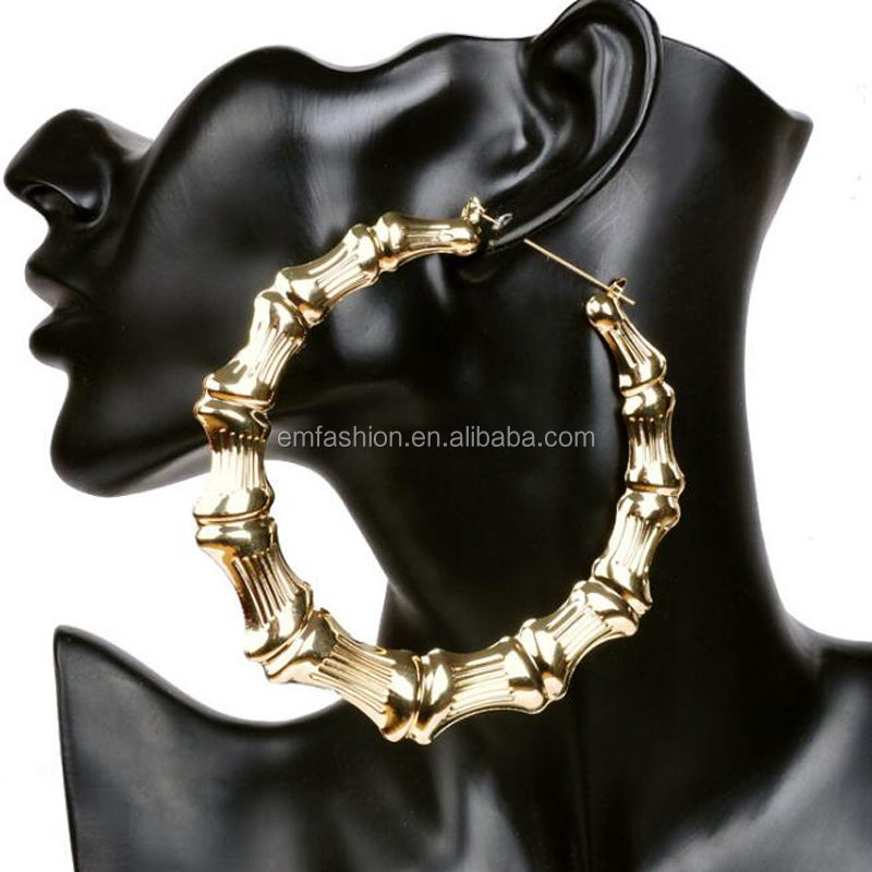 Wholesale New Arrival Gothic Hip Hop 10cm Oversized Exaggeration One Circel Bamboo Joint Gold Hoop <strong>Earring</strong>