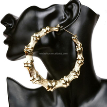 Wholesale New Arrival Gothic Hip Hop 10cm Oversized Exaggeration One Circel Bamboo Joint Gold Hoop Earring