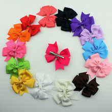 15 colors 3inch grosgrain ribbon hair bows with Clip,baby hairbow,Boutique bow for Children hair accessories