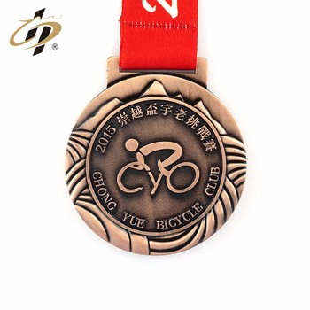 Custom 3 inches bronze emboss metal cycling race medals