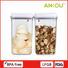 Eco-friendly 2300ML 400g Round Easy Open Airtight Button Plastic Food Storage Containers Cases