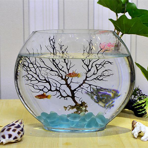 Hand blown fancy design large glass fish bowl buy large for Large glass fish bowl